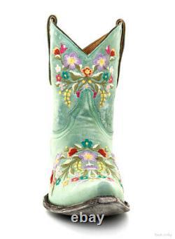 L 841-8 Old Gringo Sora 8 Aqua Floral Embroidered Cowgirl Boots