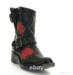 L1105-1 Mexicana Second Hand Flower Black Red Floral Embroidered 8 Biker Boot