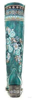 L3346-1 Old Gringo Pachamama Turquoise Floral Embroidered 17 Tall Leather Boots
