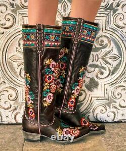L3346-2 Old Gringo Pachamama Expresso Brown Floral Embroidered 17 Tall Leather