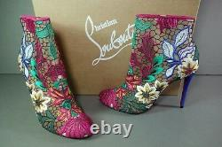 LOUBOUTIN 37.5 MISS TENNIS 100 Blue Multi Floral Point Toe Boots Bootie NEW Shoe