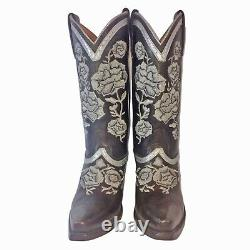 LUCCHESE Brown Silver Floral Embroidered Cowgirl Women's Boots Size 6.5 B