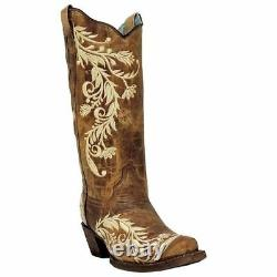 Ladies Corral Western Boots Antique Brown/ Side Embroidery A3072