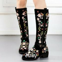 Ladies Embroidered Floral Pattern Ethnic Casual Chunky Low Heel Knee High Boots