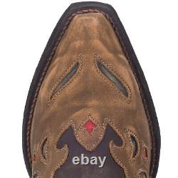 Laredo Womens Miss Kate Western Cowboy Boots Floral Embroidery Snip Toe Brown