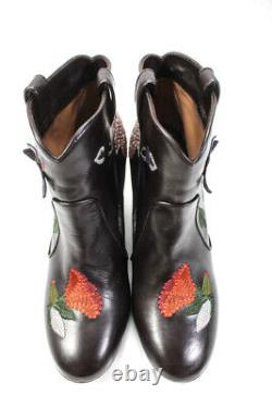Laurence Dacade Womens Leather Floral Embroidered Boots Brown Size 41.5 11.5