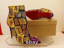 Louboutin Gipsybootie 100 Multicolor Embroidered Net Ankle Zip Boots Pumps 37