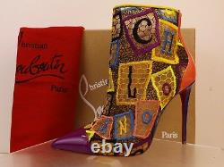 Louboutin Gipsybootie 100 Multicolor Embroidered Net Ankle Zip Boots Pumps 39