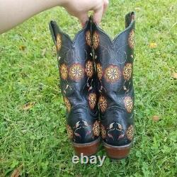 Lucchese 1883 Vicki Stitch Buffalo Cowboy Boots 10 Boho Floral Bright Embroidery