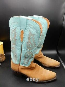 Lucchese 1883 Womens Size 7.5B Turquoise Leather Tan Suede Cowboy Boots n45034