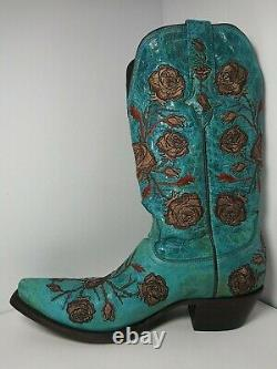 Lucchese Boots Turquoise Color with Embroided Roses Size 9B Simply STUNNING