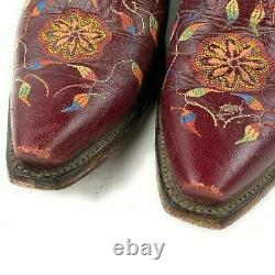Lucchese Floral Maroon Leather Embroidered Wedding Cowboy Boots Women's Sz 7.5 b