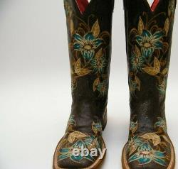 Macie Bean M9034 Embroidered COWBOY BRN FLORAL BootS Glitterrific LILY ANA 7 M