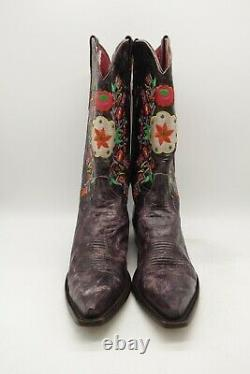Macie Bean Purple Leather Floral Embroidered Cowboy Western Boots Women's 9 M