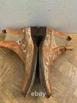 Mark Nason Jam Rock Never Dies Brown Embroided Leather Ankle Boot Size 9.5 D