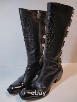 Mark Nason's Siren Women's Embroidered Rose Boots Size 8 Made Italy Leather