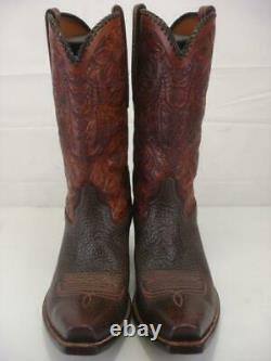 Men's 11 D M Rocketbuster Cowboy Boots Brown Tooled Floral Leather Snip Toe USA