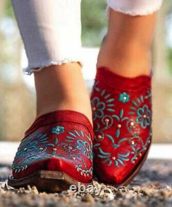 Ml3105-1 Old Gringo Amber Red Turquoise Floral Embroidered Leather Mules