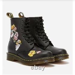 NEW DR MARTENS VONDA EMBROIDERED FLORAL ANKLE BOOTS SOFTY LEATHER SIze 6 39