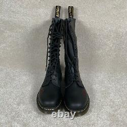 NEW Dr Martens Womens 10 Leather Vonda Boots Black / Red Floral Rose