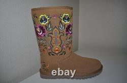 NEW UGG Australia JULIETTE Classic Tall CHESTNUT Embroidered Floral Boots 5 36