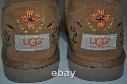 NEW UGG Australia JULIETTE Classic Tall CHESTNUT Embroidered Floral Boots 6 37