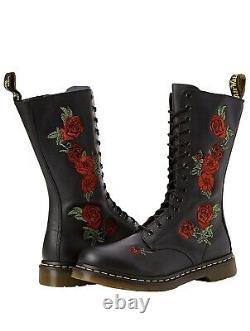 NIB Dr. Doc Martens Vonda Roses Soft Leather Black 14 Eye Size 10