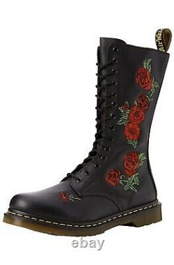 NIB Dr. Doc Martens Vonda Roses Soft Leather Black 14 Eye Size 6
