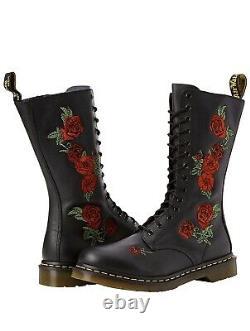 NIB Dr. Doc Martens Vonda Roses Soft Leather Black 14 Eye Size 9 Women's