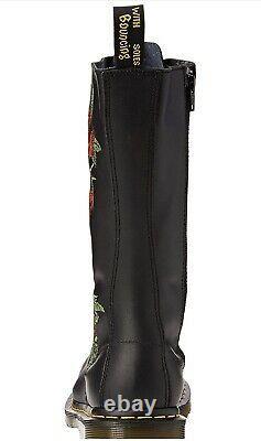 NIB Dr. Doc Martens Vonda Roses Softy T Leather Black 14 Eye Size 6