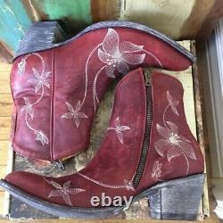 NIB Old Gringo Flor Loca Red Ankle Boots (10)