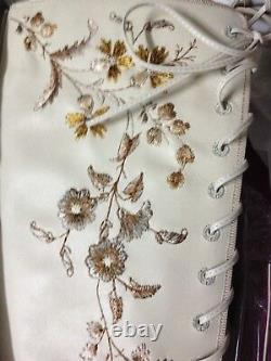 NWB ETRO Runway Artistic Floral Embroidered Leather Lace-Up Boots Size IT38