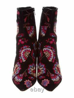 NWOB Loeffler Randall Isla Embroidered Suede Ankle Boot, Black/Floral-$550