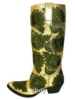New $2650 GIANNI BARBATO WESTERN BULLHIDE LEATHER EMBROIDERED BOOTS It 37- US 7