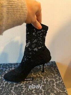 New Dolce & Gabbana Black Stretch Lace Heels Booties Boots Shoes Size 38/us7.5