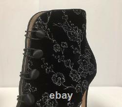 New Gianvito Rossi Floral Embroidered Black Velvet Booties Size 39/9 $1175.00.00