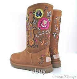 New NIB Ugg Juliette Embroidered Chestnut Brown Suede UggPure (tm) Womens Boot 6