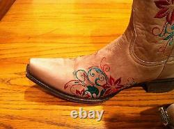 New Old Gringo Western Pull-On Floral Embroidered Women Leather Cowboy Boots 9.5