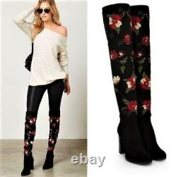 New Sam Edelman Women's Floral Embroidered Over the Knee Boots Sz 9.5M