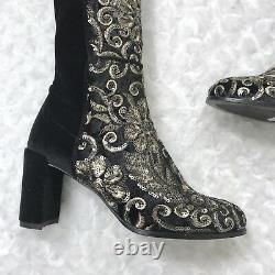 New Stuart Weitzman 5.5 Velvet Sequined Embroidered Over The Knee Alljill Boots