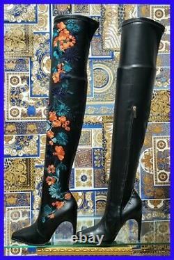 New Versace Embroidered Leather Tigth High Floral Boots 37 7