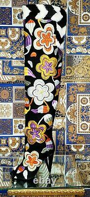 New Vintage Tom Ford 2d Floral Embroidered Over-knee Boots 37 7
