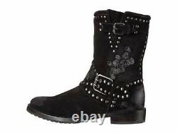 New in Box Womens Frye Nat Flower Engineer Black Suede Boots Size 6 MSRP $528