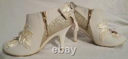 Nib Irregular Choice White Gold Glitter Ribbon Flower Wedding Booties Euro 40 9m