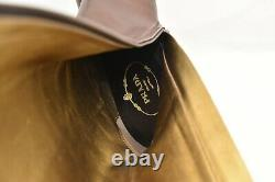 Nib Prada Brown Distressed Leather Zip Embroidered Knee High Boots Pumps 39.5