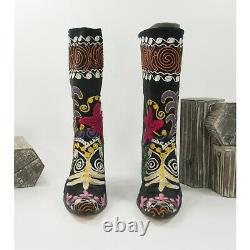 O'Suzani Embroidered Knee High Purple Floral Velvet Black Heeled Boots Size 37 7