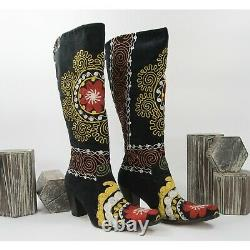 O'Suzani Embroidered Tall Red Yellow Floral Velvet Black Heeled Boots Size 38 8