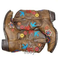OLD GRINGO Checruda Brass Cowgirl Boots Love Floral Birds Brown Snip Toe 8.5 B