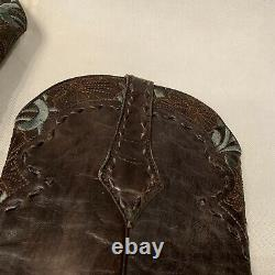 OLD GRINGO Embroidered Tooled Floral Turquoise Brown Boots Sz 8 B Cowboy Western