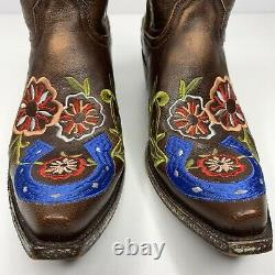 OLD GRINGO Lukenbach Boots Embroidered Brown Leather 8B Floral Horseshoe